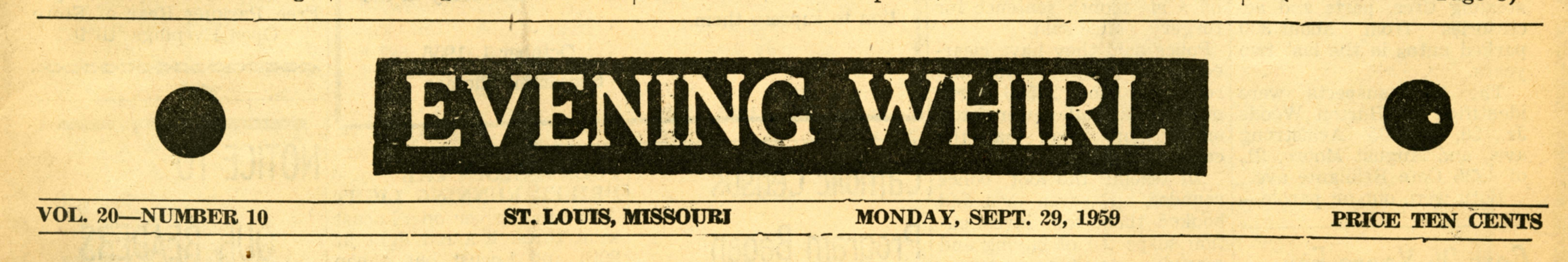 Evening Whirl, 1959/09/29, Page 1, masthead