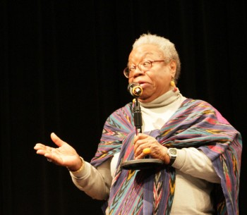 "Alice Windom, who was interviewed for ""Maya Angelou: And Still I Rise"" speaking after the screening."