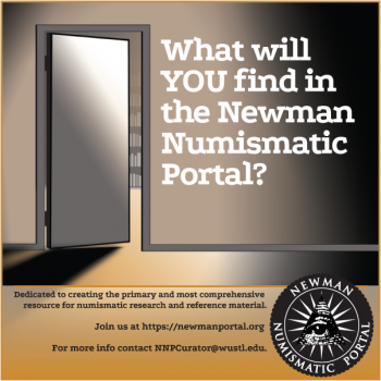 "Full-page, full-color ad of an open door with text alongside it reading ""What will YOU find in the Newman Numismatic Portal?"""