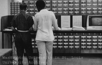 Computers began replacing the card catalog for locating books at WU Olin Library in the early 1980s