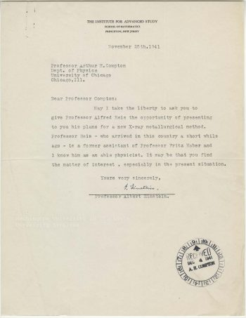 Albert Einstein to Arthur Holly Compton, 25 November 1941