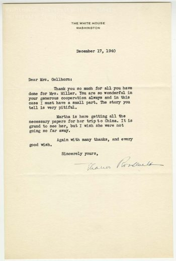 Letter, Eleanor Roosevelt to Edna Gellhorn, 17 December 1940. Edna Gellhorn Collection, Series 4, Box 12, folder 25.