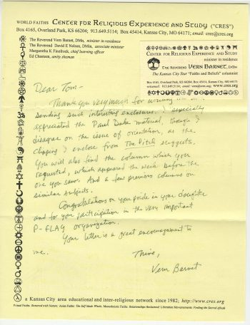 Vern Barnet (CRES) to Tom Miles, 13 January 1999, regarding the latter's involvement in PFLAG. Tom Miles Papers, Series II, Box 5, folder 1.