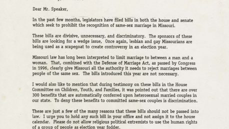 Letter, Audrey and Tom Miles to Steve Gaw, Missouri state senator, April 2000. Tom Miles Papers, Series II, box 5, folder 3.