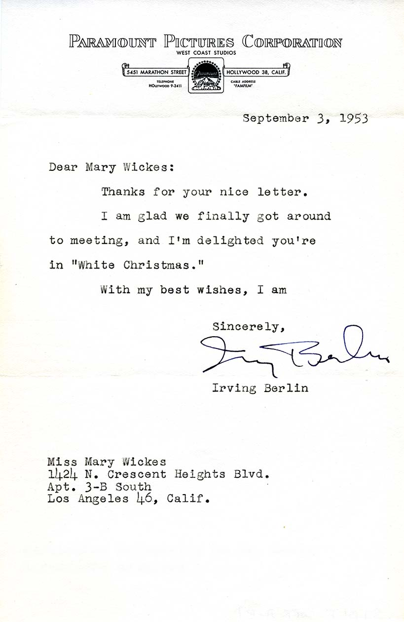 Letter, Irving Berlin to Mary Wickes, 3 September 1953. Mary Wickes Papers, series 7, box , folder 1.