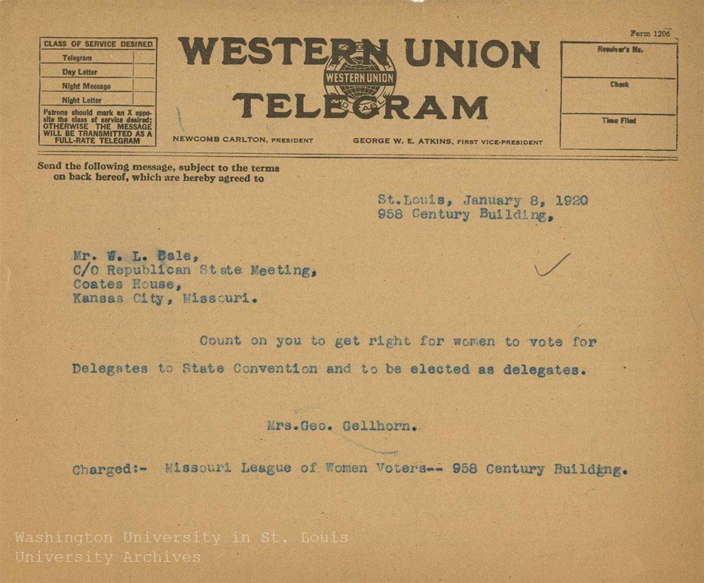 Telegram, Edna Gellhorn to W.L. Bale, 8 January 1920. Edna Gellhorn Collection, Series 4, Box 12, folder 6.