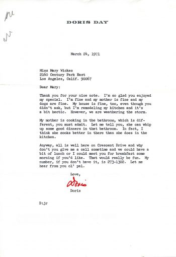 Letter, Doris Day to Mary Wickes, March 25 1971. Mary Wickes Papers, series 7, box 1, folder 2.