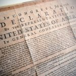 A copy of the Declaration of Independence at the Olin Library.