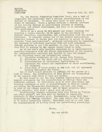 letter, Radical Organizing Committee to unnamed recipient, July 25 1968. Students for a Democratic Society Records, 1956-1969. Series 1: Students for a Democratic Society Material, Series 1, Box 1, Folder 1: Unclassified letters, Dec. 1966 - Aug. 1968.