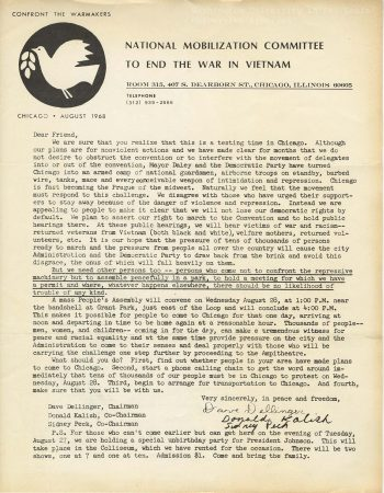 Letter, National Mobilization Committee to end the war in Vietnam to Terry Kock, August 1968. Students for a Democratic Society Records, 1956-1969. Series 1: Students for a Democratic Society Material, Series 1, Box 1, Folder 1: Unclassified letters, Dec. 1966 - Aug. 1968.