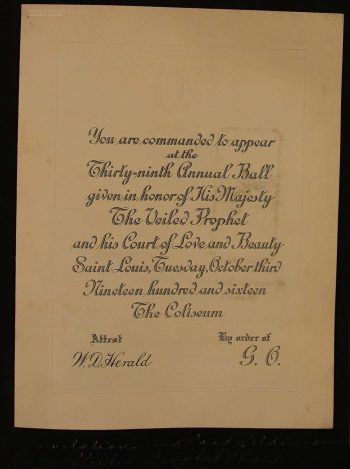 Schageman's invitation to the 1916 Veiled Prophet Ball. Washington University Memorabilia Collection, Box 21, Folder 1: Student Scrapbook - Schageman, I., 1915-19.