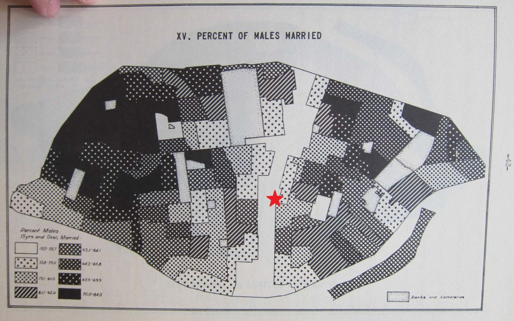 Image 3: A map illustrating the distribution of single men in St. Louis, according to data from 1930 US Census. The approximate location of Dante's Inferno (3516 Olive) is marked with a red star. Dante's Inferno stood in the midst of a band stretching across St. Louis's Central Corridor characterized by low average family size and an unusually high proportion of unmarried adult male residents. Source: Ralph Carr Fletcher, et al., Social Statistics of St. Louis by Census Tracts (St. Louis, 1935).
