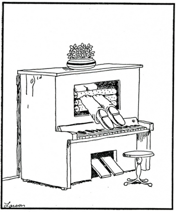 """A cartoon plays off of Gaddis'""""Torschlusspanik,"""" a one-act monologue broadcast that employs much of his research on the player piano. The line drawing shows (presumedly) Gaddis' feet sticking out of a player piano, the top of his body having already gone through the piano."""