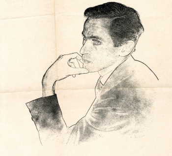 A charcoal sketch of William Gaddis, head and shoulders.