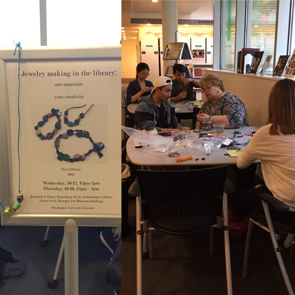 Jewelry making event in the Kranzberg Art & Architecture Library, fall 2016