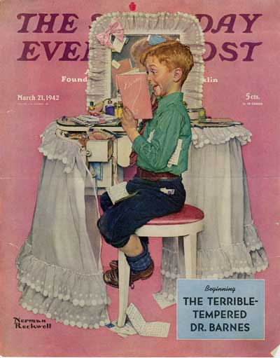 Cover art from The Saturday Evening Post's March 21, 1942, issue. Image shows a young boy seated in front of a lacy makeup dresser with mirror; the boy is cheekily reading through a magazine he has pulled from an open drawer.