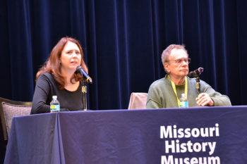 "Erin McGlothlin, WU associate professor of German and Jewish Studies, with Lawrence Loewinger, co-director of ""Bogdan's Journey"""
