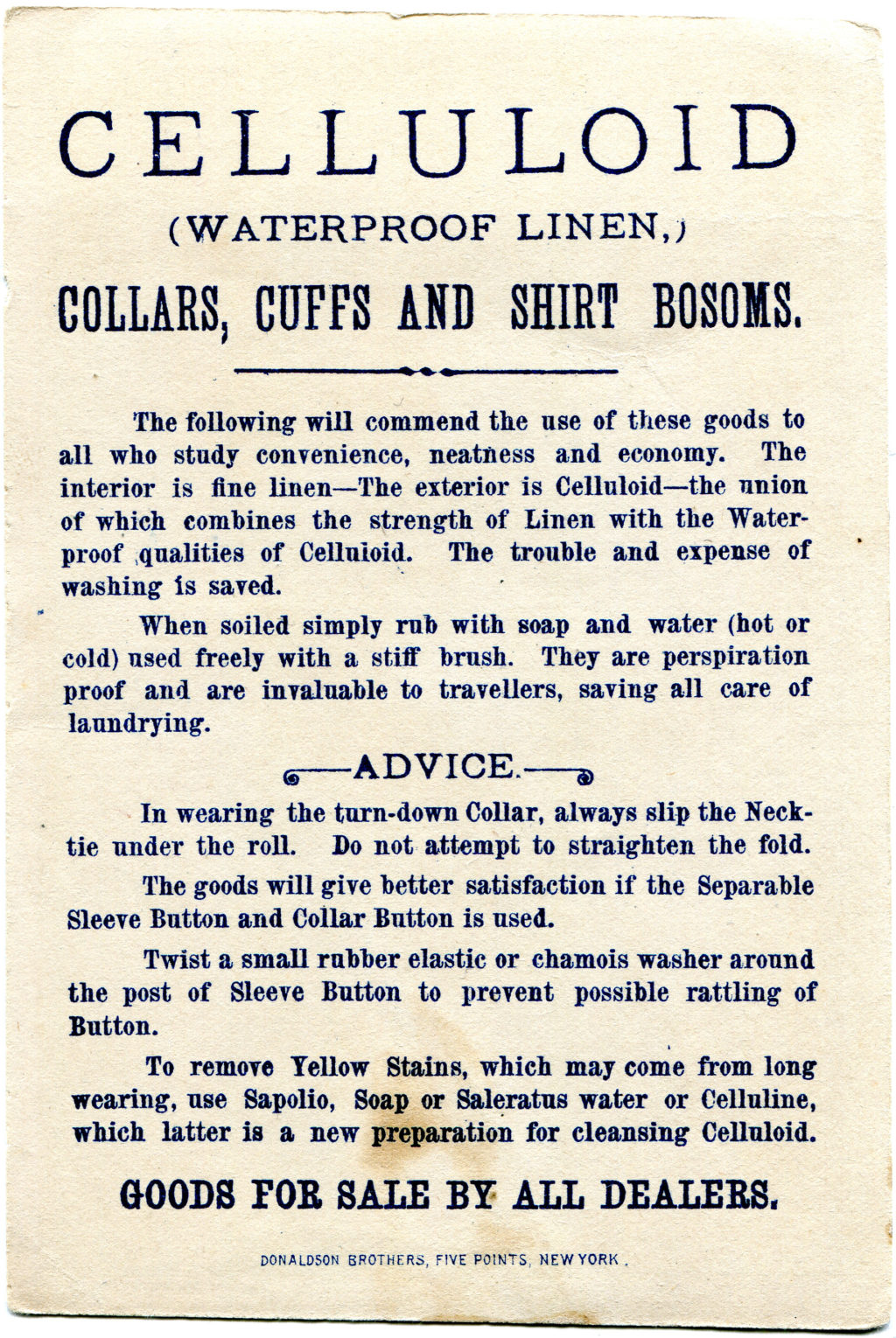 Celluloid trade card reverse side