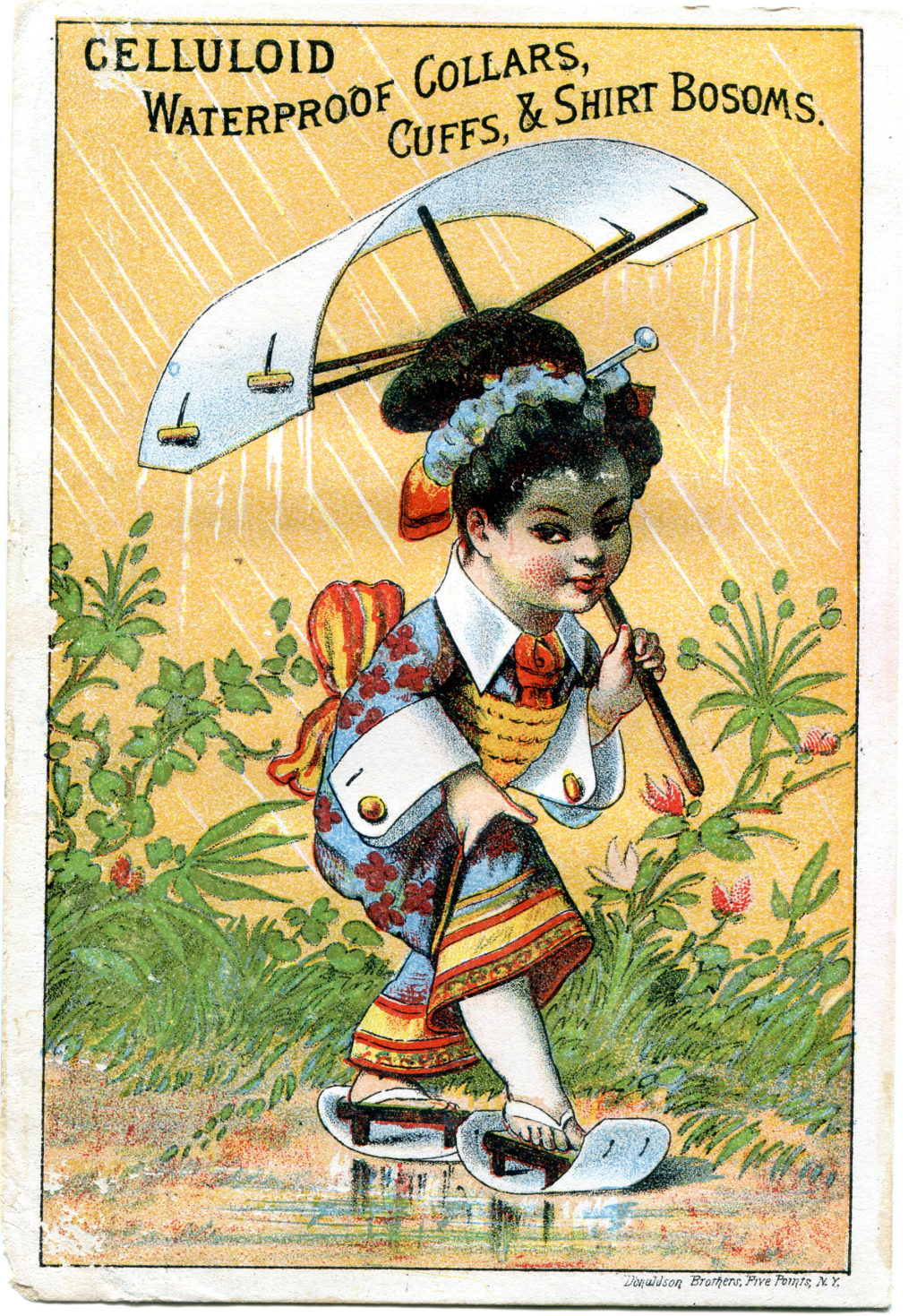 Celluloid trade card with girl walking in the rain