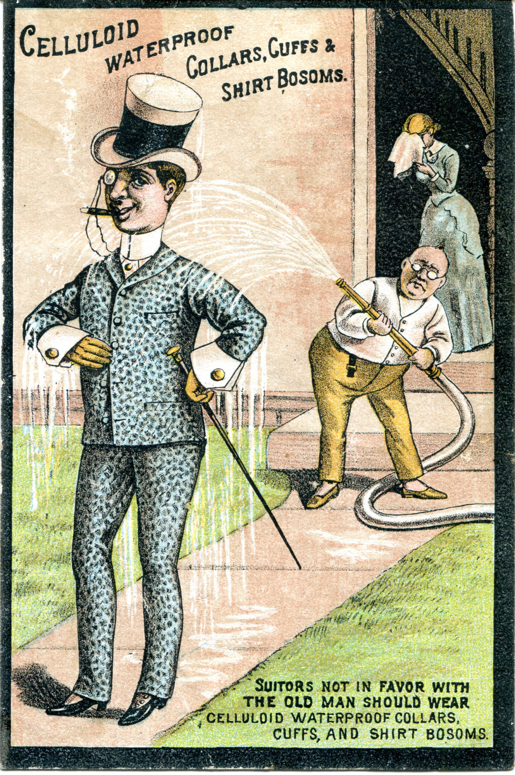 Celluloid trade card with suitor being hosed with water