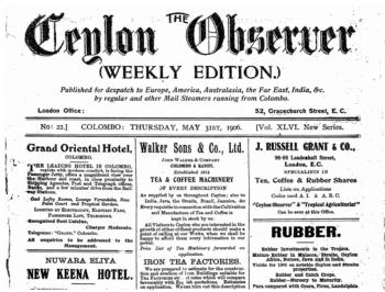 Front Page of Ceylon Observer (Colombo, Sri Lanka), 05-31-1906.