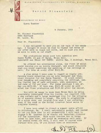 Harold Blumefeld to Vincent Piacentini, 4 January 1955. Vincent Piacentini Papers, Series 01, Box 01, folder 20.