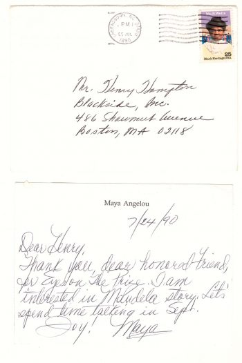 Maya Angelou to Henry Hampton, July 24 1990. Henry Hampton Collection, Personal Papers, Sequence 3, Item 7462, Box 1, Washington University Film and Media Archives.
