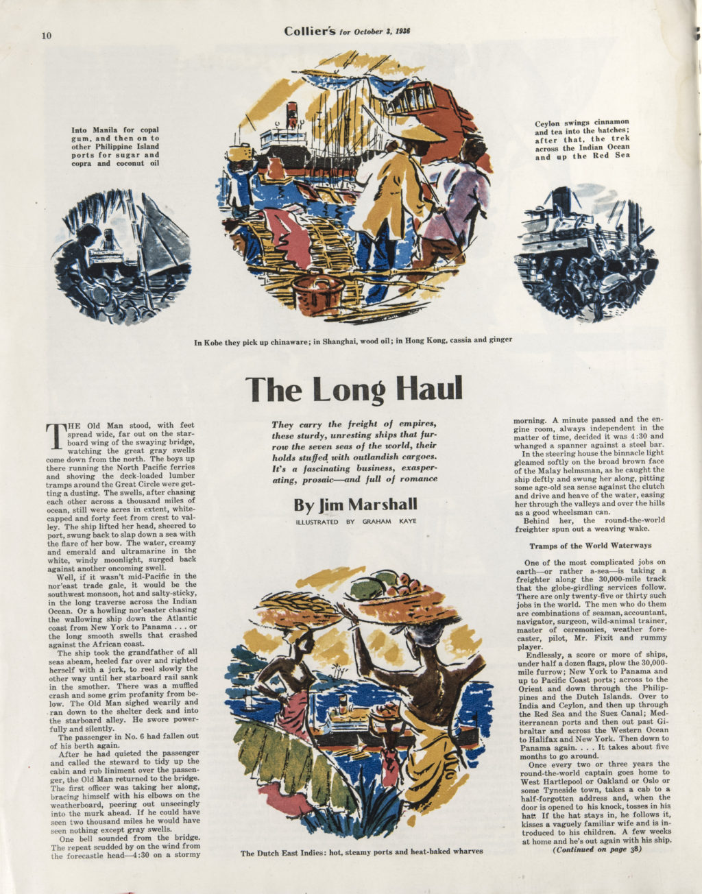 """Graham Kaye, Illustration For €�the Long Haul"""" By Jim Marshall, Collier's,  October 3, 1936"""