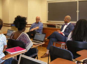 "Else visited Professor Vernon C. Mitchell Jr.'s course, ""Don't Believe the Hype: Race, Media, and Social Movements in America"" on April 21."