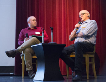 Brian Woodman (left), curator of Washington University Libraries' Film & Media Archive, talks with author and filmmaker Jon Else on April 19 at the Missouri History Museum.
