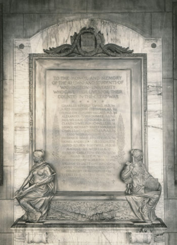 The Memorial Plague depicts two women in robes (one holding a sword the other ) at the base of ith an inscription and a list of names. The inscription reads: To the honor and memory of the Alumni and students of Washington University who gave their lives for their country in the Great War.