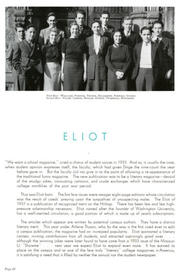 Group photo of the Eliot publication team on page 88 of the Hatchet yearbook