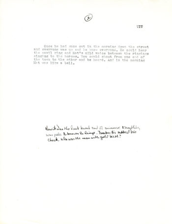 """Two of three pages displayed here of a typescript draft of """"The Triumph of Israbestis Tott"""" by William H. Gass The type is very small."""