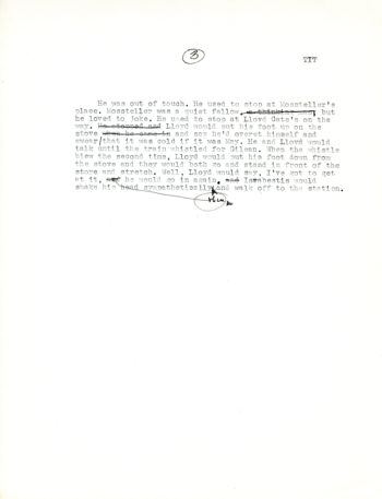 """The last of three pages displayed here of a typescript draft of """"The Triumph of Israbestis Tott"""" by William H. Gass The type is very small."""