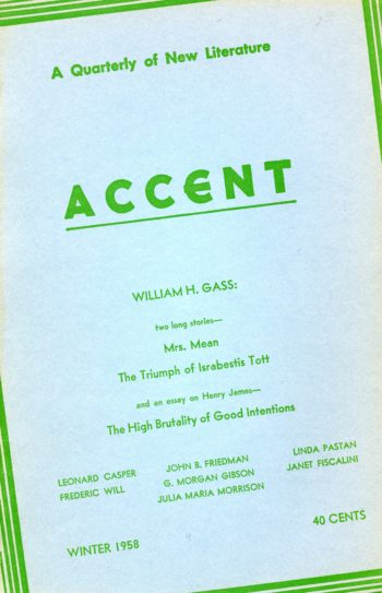 A cover of Accent's Winter 1958 issue. William H. Gass is featured by name.