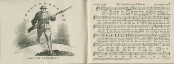 Sheet music for The Star-Spangled Banner is on the right-hand side of the page while a drawing of a soldier carrying a rifle as he walks over a ridge towards the viewer displays on the left.