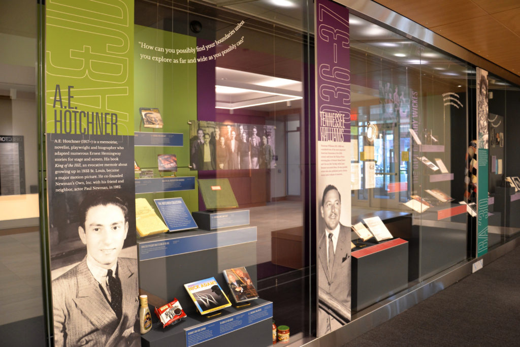 A view of the Thomas Gallery featuring Tennessee Williams and A.E. Hotchner.