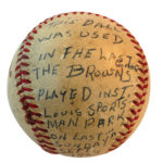One of the baseballs used in the Brown's last game played on September 27, 1953.