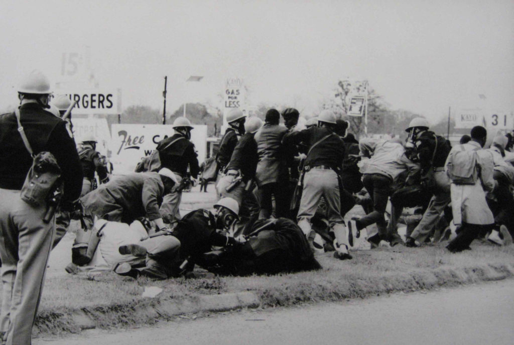 Marchers attacked by Alabama state troopers and local police on the Edmund Pettus Bridge, Bloody Sunday