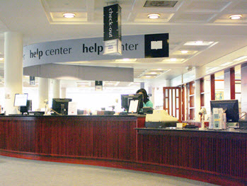 Circulation desk in Olin Library