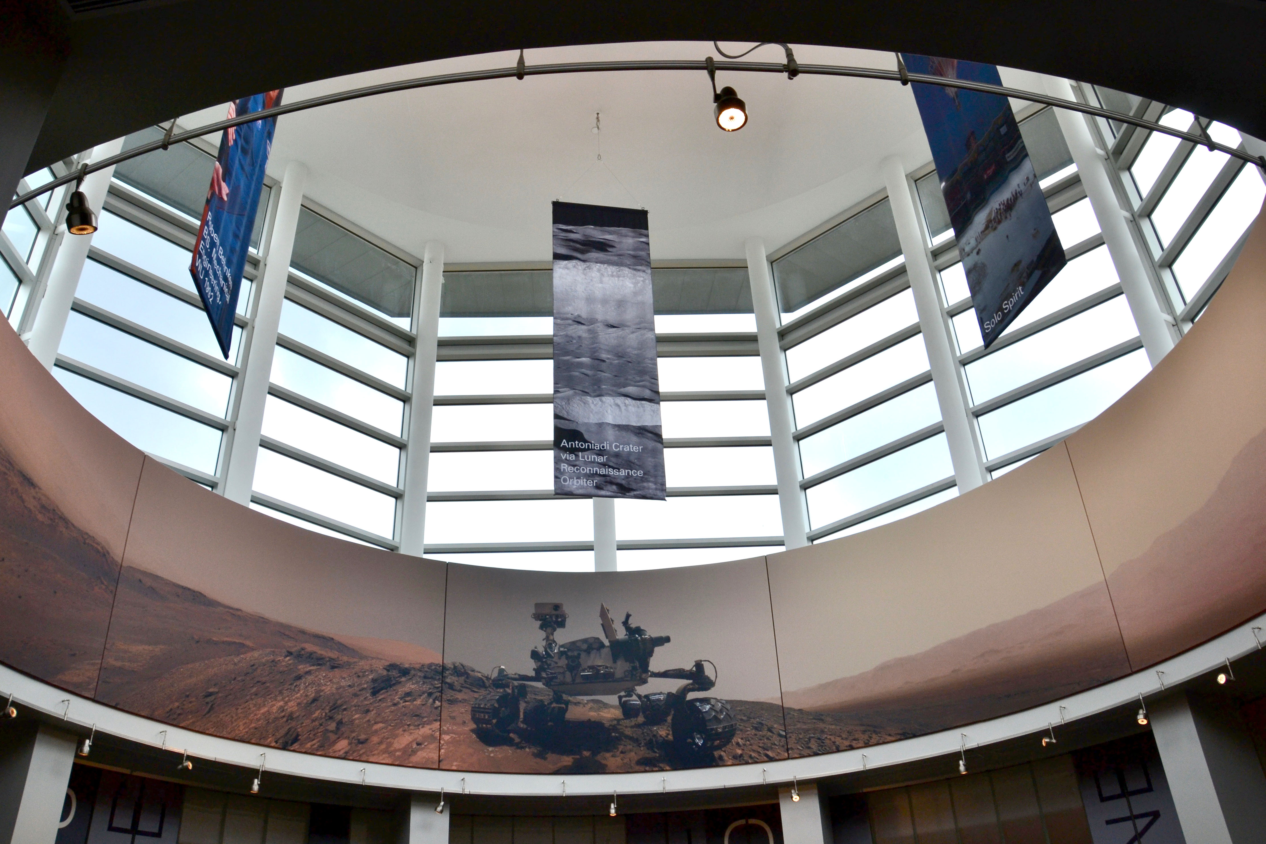 Four banners hang from the ceiling of the Sky Room. Photo by Diana Bell