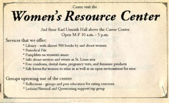 printed advertisement for Women's Resource Center