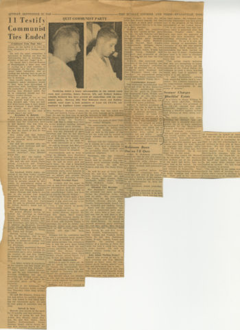 """The clipping's headline reads """"11 Testify Communist Ties Ended."""""""