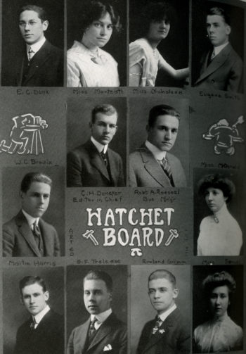 A group photo of the 1914 Hatchet board. The board is made up of twelve individuals, four women and eight men, all of whom were white.
