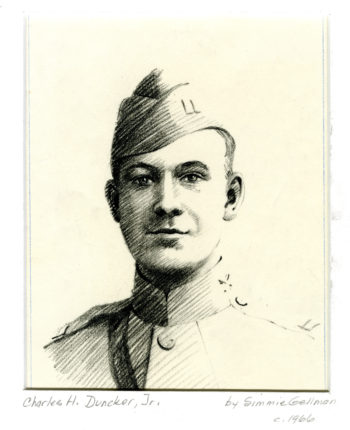 A sketch of Charles Duncker Jr.'s headshot. Duncker is dressed in uniform, which includes a military cap and a high-necked jacket.