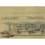 Harris Armstrong's concept sketch for the St. Louis Airport Terminal