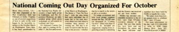 An article from The Gay News-Telegraph announcing the first annual Coming Out Day, September 1988. The article is titled: National Coming Out Day Organized for October.