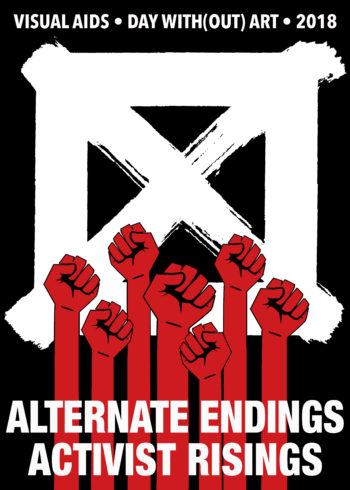 Visual Aids Alternate Endings Activist Rising logo with image of X and red raised fists