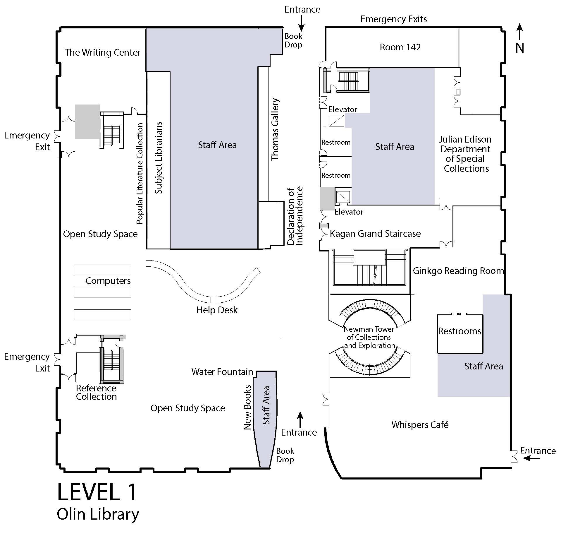 Map of Olin Library Level 1
