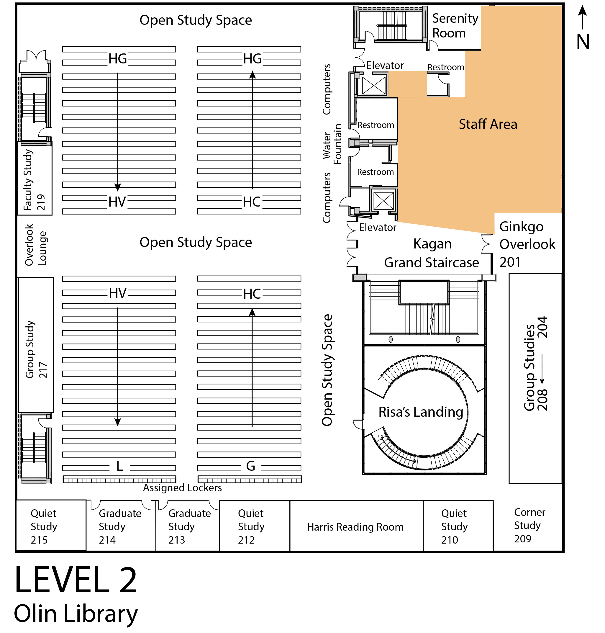Map of Olin Library Level 2